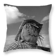 Monochrome Scarecrow Throw Pillow