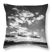 Monochrome Vintage Sunset  Throw Pillow
