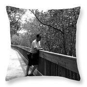 Monochrome Weedon Island Boardwalk  Throw Pillow