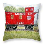 Monon Wood Caboose Train C 283 1950s Throw Pillow
