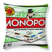 Monopoly Board Game Painting Throw Pillow