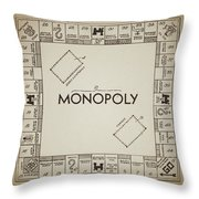 Monopoly Board Patent Vintage Throw Pillow