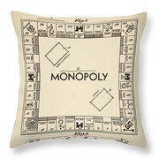 Monopoly Patent 1935 Vintage Border Throw Pillow