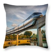 Monorail At Golden Hour Throw Pillow