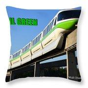 Monorail Green Wdwrf Throw Pillow