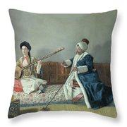 Monsieur Levett And Mademoiselle Helene Glavany In Turkish Costumes Throw Pillow by Jean Etienne Liotard