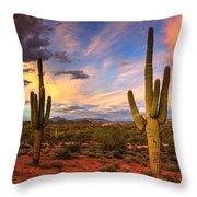 Monsoon Desert Sunset  Throw Pillow