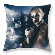 Monster In Cemetery Holding Gun. Grave Robber Throw Pillow by Jorgo Photography - Wall Art Gallery