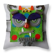 Monster King Throw Pillow by Jen Hardwick