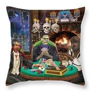 Monster Poker Throw Pillow