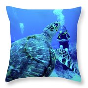 Monster Turtle Attacks Jeanne Throw Pillow