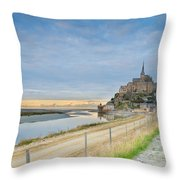 Mont St Michel At Sunset  Throw Pillow