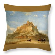 Mont St Michel From The Sands By David Roberts Throw Pillow