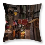 Mont-st-michel, Grand Rue At Night Throw Pillow