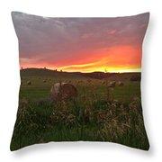 Montana Hayfield Sunset Throw Pillow