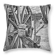 Montana Old Wagon Wheels Monochrome Throw Pillow