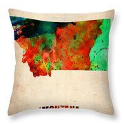 Montana Watercolor Map Throw Pillow by Naxart Studio