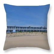Building At The Beach, Montauk, Ny Throw Pillow