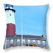 Montauk Point Light  Throw Pillow