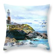 Montauk Point Light Throw Pillow