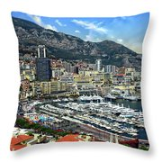 Monte Carlo Harbor View Throw Pillow