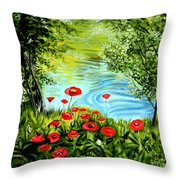 Monte Rio Poppies Throw Pillow