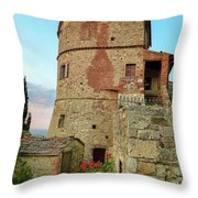 Montefollonico Stone Tower And Fortress Throw Pillow