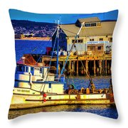 Monterey Bay Fishing Boat Throw Pillow