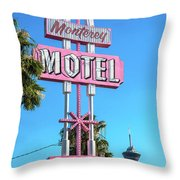 Monterey Motel Sign And The Stratosphere Throw Pillow