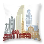 Montevideo Skyline Poster Throw Pillow