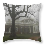 Monticello In The Fog Throw Pillow