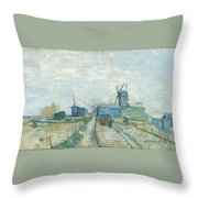 Montmartre   Mills And Vegetable Gardens, Paris Throw Pillow