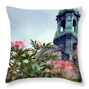 Montreal Bldg Among Flowers Throw Pillow