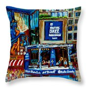Montreal City Paintings By Streetscene Specialist Carole Spandau  Over 500 Prints Available Throw Pillow
