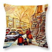 Montreal City Scene In Winter Throw Pillow