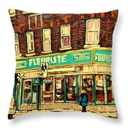 Montreal Cityscenes By Streetscene Artist Carole Spandau Throw Pillow by Carole Spandau