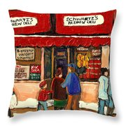 Montreal Hebrew Delicatessen Schwartzs By Montreal Streetscene Artist Carole Spandau Throw Pillow by Carole Spandau