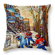 Montreal Hockey Game With 3 Boys Throw Pillow