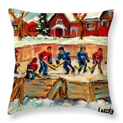 Montreal Hockey Rinks Urban Scene Throw Pillow