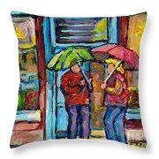 Montreal Rainy Day Paintings April Showers Umbrella Conversation At Wilensky's Deli C Spandau Quebec Throw Pillow
