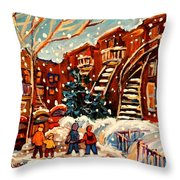 Montreal Street In Winter Throw Pillow