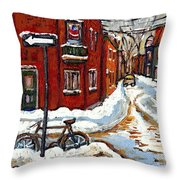 Montreal Street In Winter La Ville En Hiver Buy Montreal Paintings Petits Formats Peintures A Vendre Throw Pillow