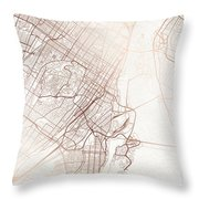 Montreal Street Map Colorful Copper Modern Minimalist Throw Pillow
