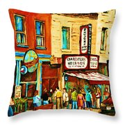 Montreal Streetscene Artist Carole Spandau Paints Schwartzs Main Street Hustle Bustle Throw Pillow