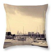Montrose Harbor Skyline Throw Pillow