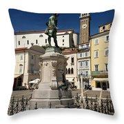 Monument And Statue Of Giuseppe Tartini At Tartini Square Piran  Throw Pillow