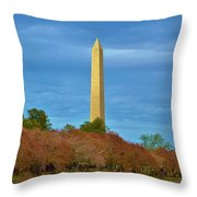 Monument Blossoms, Japanese Cherry Blossom Trees With The Washington Monument In The Background Throw Pillow