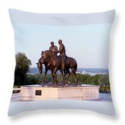 Monument In Nauvoo Illinois Of Hyrum And Joseph Smith Riding Their Horses Throw Pillow