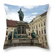Monument To Emperor Franz I, Innerer Burghof In The Hofburg Imperial Palace. Vienna, Austria. Throw Pillow