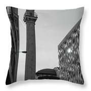 Monument To The Great Fire Of London Bw Throw Pillow